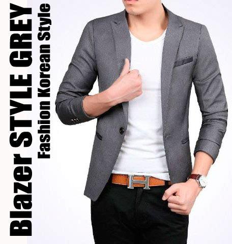 jual style grey blazer jas pria cowok slimfit korea casual abu keren slimfit shop