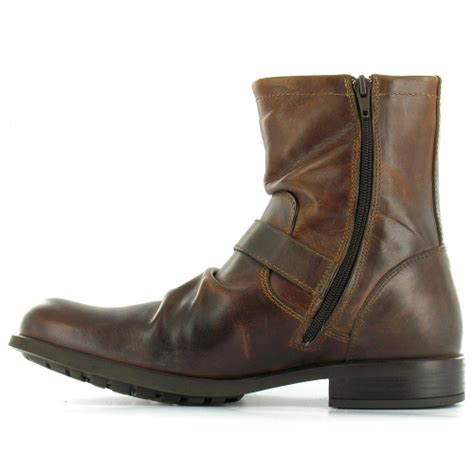 base metal mens leather ankle boots brown