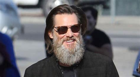 jim carrey jim carrey flaunts his bushy beard ahead of jimmy kimmel
