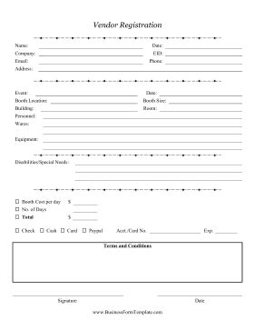 Vendor Registration Form Template Vendor Form Template