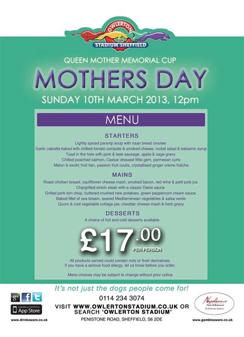 Come With Me Mothers Day Menu Part 3 by Pin By Owlerton Greyhound Stadium Sheffield On Owlerton