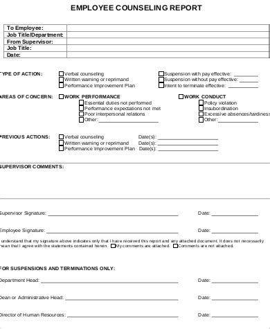 employee counseling form template employee counseling form template pictures to pin on
