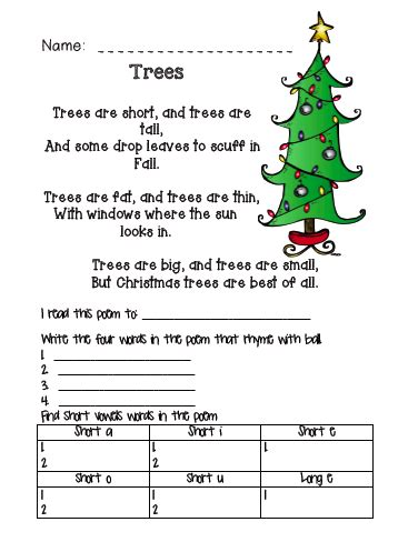 christmas tree poem the busy classroom free poem about trees