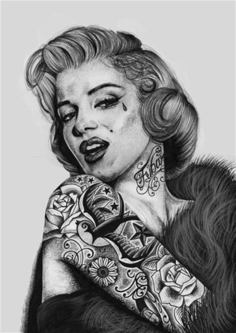 marilyn monroe with tattoos poster marilyn tattooed print by waynemaguire777