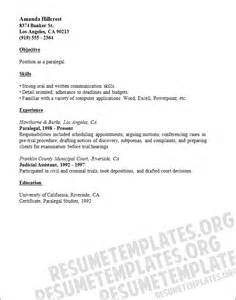 resume templates paralegal sle resume