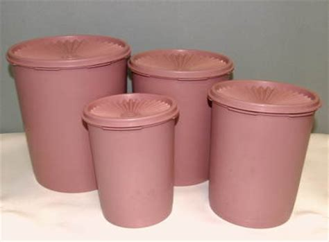 Mosaic Canister Pink Tupperware free vintage tupperware servalier decorator canister set mauve pink kitchen listia