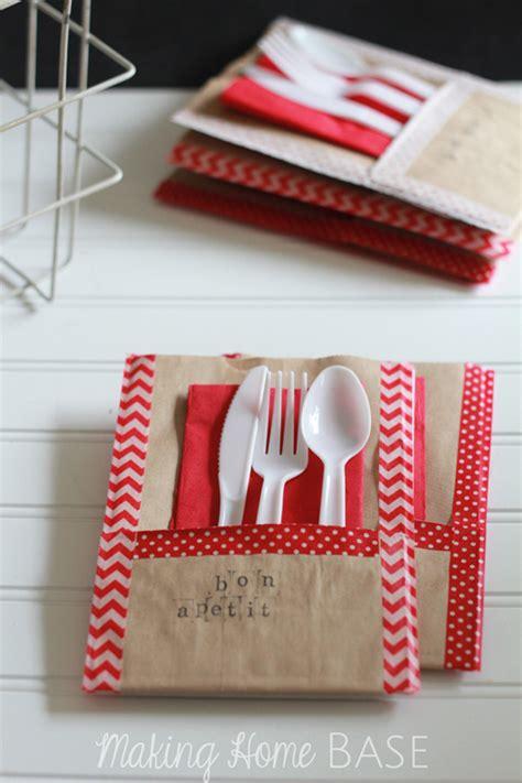 printable christmas utensil holders paper bag picnic utensil holder mom 4 real