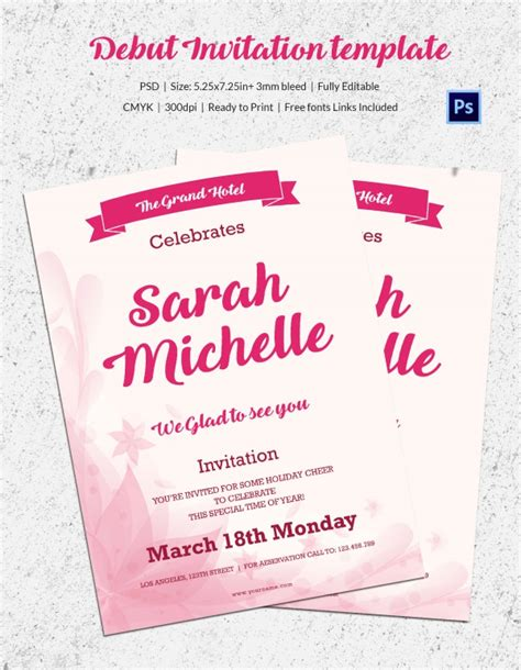 invitation card template for debut debut invitation template 26 free word pdf psd format