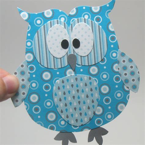 Owl Craft Paper - blue owl template owl stripes