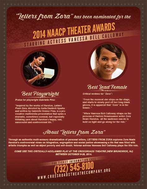 Letter Zora Letters From Zora Receives Two Naacp Theater Awards Nominations In The Company Of Friends