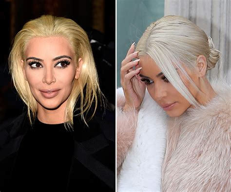 kim kardashian grey blonde hair pic kim kardashian s white hair after platinum blonde