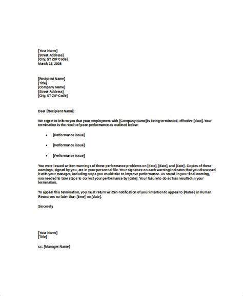 poor performance termination letter sample
