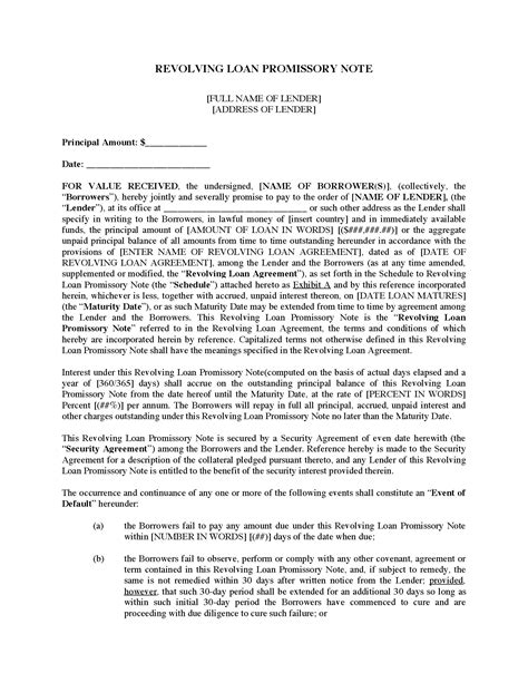 revolving loan agreement template usa revolving loan promissory note forms and