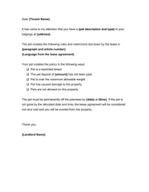 Lease Letter Pet Unauthorized Pet Notice Template