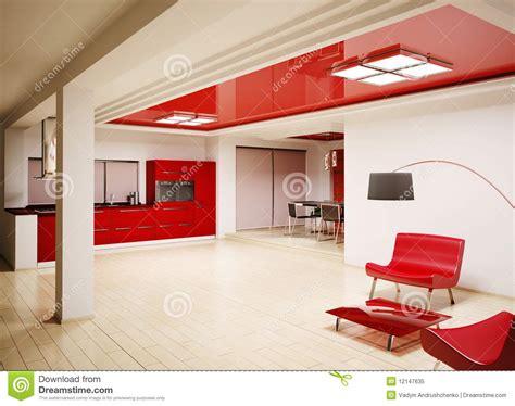 modern kitchen interior 3d rendering interior of modern kitchen 3d render royalty free stock