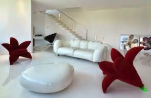 Red living room furniture on living room with modern red living room