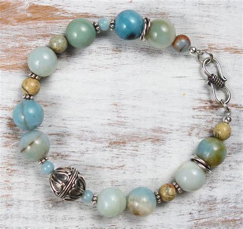 Silver Handmade Bracelets - handmade amazonite and bali silver bracelet handmade jewelry