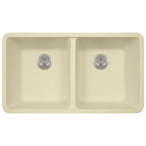 Composite Undermount Kitchen Sinks Polaris Sinks Undermount Composite 32 1 2 In Bowl Kitchen Sink In Beige P208 Beige The