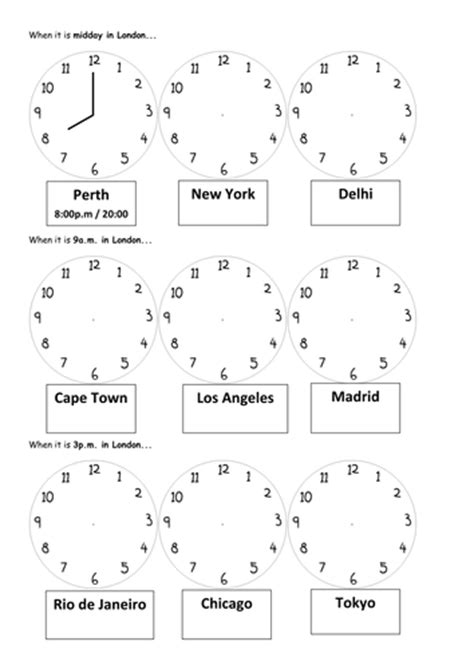 Zones Worksheet by Time Zones By Mathsright Teaching Resources Tes