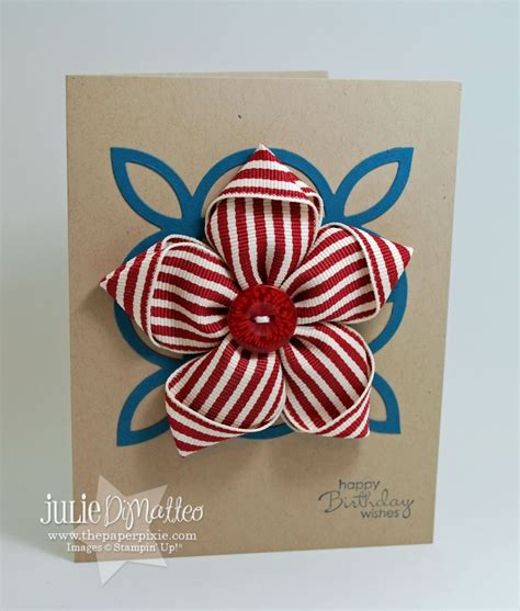 Paper Ribbon Flower - ribbon flower pin card the paper pixie