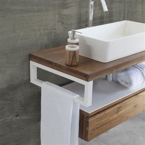 armoire de toilette suspendu moderne de teck et blanc icip
