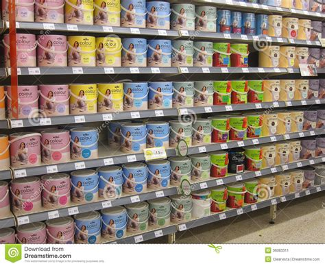 de colores store tins of paint in a diy store editorial photo image of
