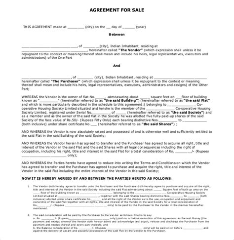 Agreement Letter For House Sale Sales Agreement Template 10 Free Word Pdf Document Free Premium Templates