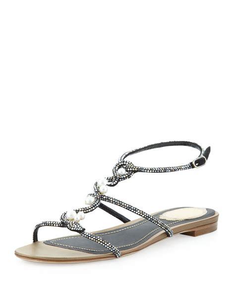 rene caovilla pearl sandals rene caovilla sardonyx pearl embellished sandals in black