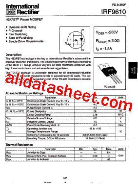 Dijamin Mosfet 50n50 50a 500v N Channel International Rectifier irf9610 datasheet pdf international rectifier