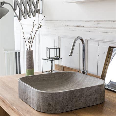 deco badezimmer waschbecken waschbecken aus marmor perseus grau tikamoon