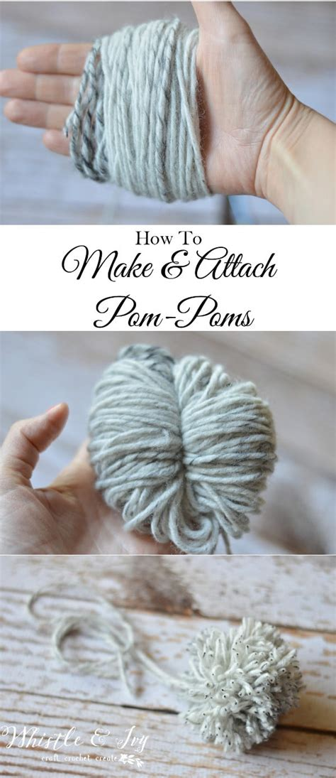 how to attach a pom pom to a knitted hat how to make and attach a pom pom whistle and