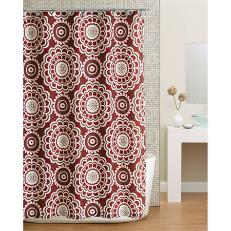 red fabric shower curtains walmart hometrends global floral fabric shower curtain