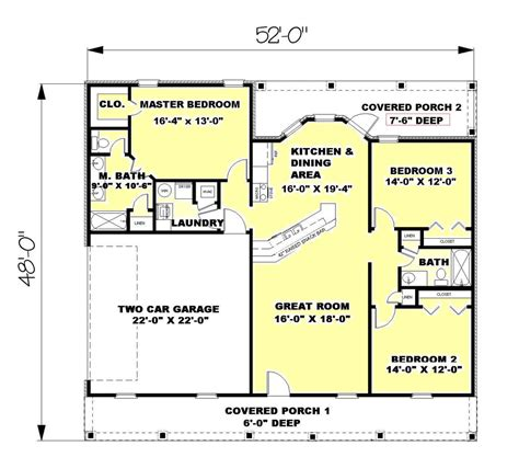 1500 Sq Ft Bungalow Floor Plans ranch style house plan 3 beds 2 00 baths 1500 sq ft plan