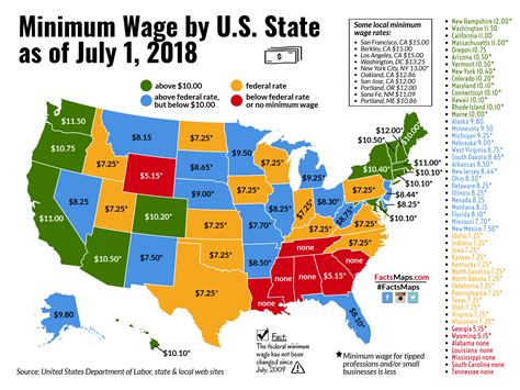 national minimum wage in us minimum wage by u s state as of july 1 2018 factsmaps