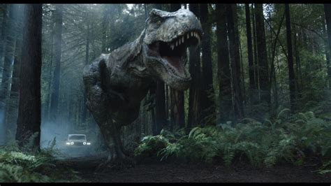 jurassic park car trex jeff goldblum turns the tables on a t rex during jeep s