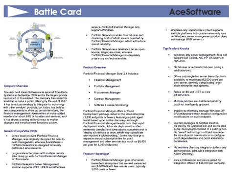 card sle template battle cards and sales guides sle reports