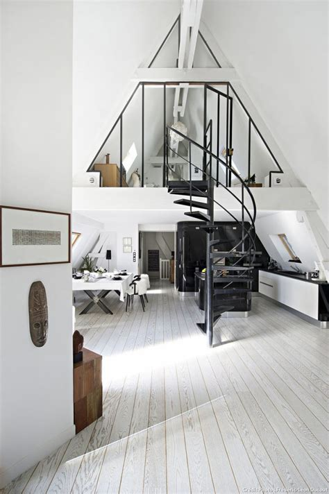 attic area scandianvian monochrome attic apartment in paris digsdigs