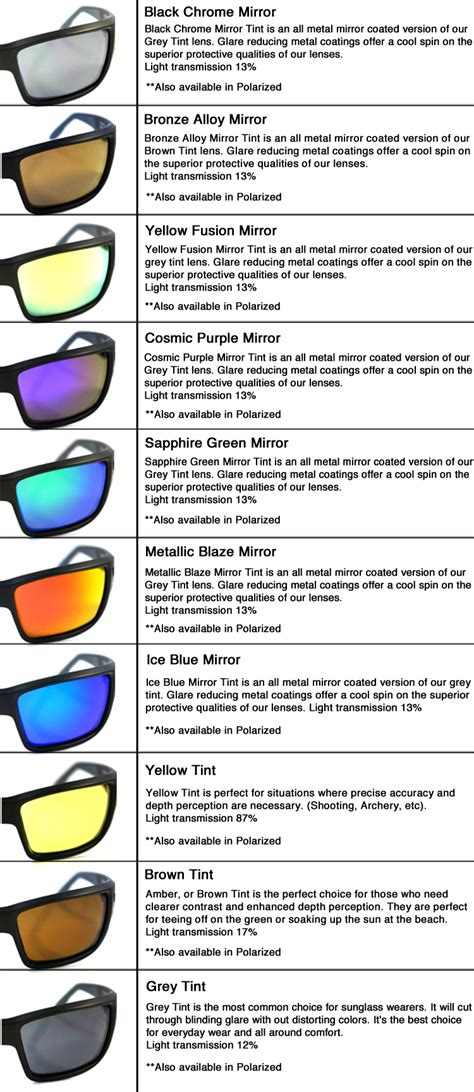 sunglass lens colors replacement lenses for revo guide small re4070 63mm