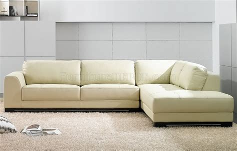 sectional sofas leather modern sf6573 ivory full leather modern sectional sofa by at home usa