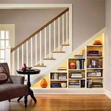 built in bookshelves stairs bookcase built the stairs updating a room