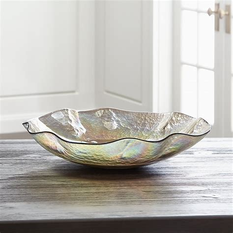 chagne iridescent glass bowl crate and barrel