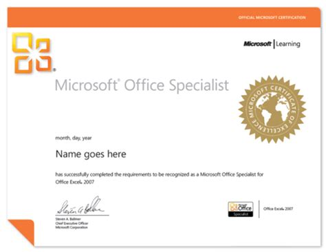ms office certificate template microsoft office specialist mos authorized testing