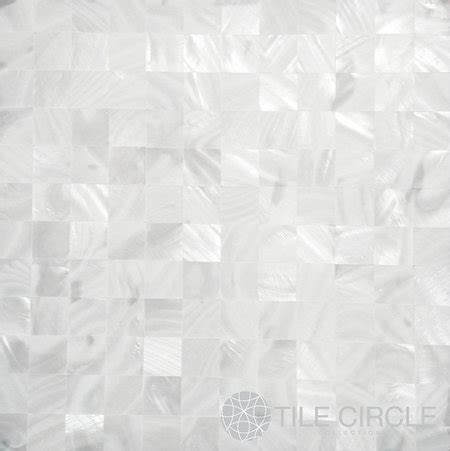 Luxurious White Squares Groutless Pearl Shell Tile   White