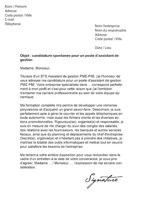 Exemple Lettre De Motivation Assistant Administrative Lettre De Motivation Assistant De Gestion Pme Pmi Mod 232 Le De Lettre