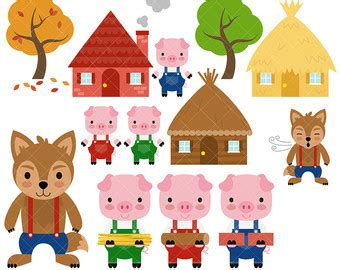 Zoetoys 3d Book Three Pig the three pigs and the big bad wolf clipart