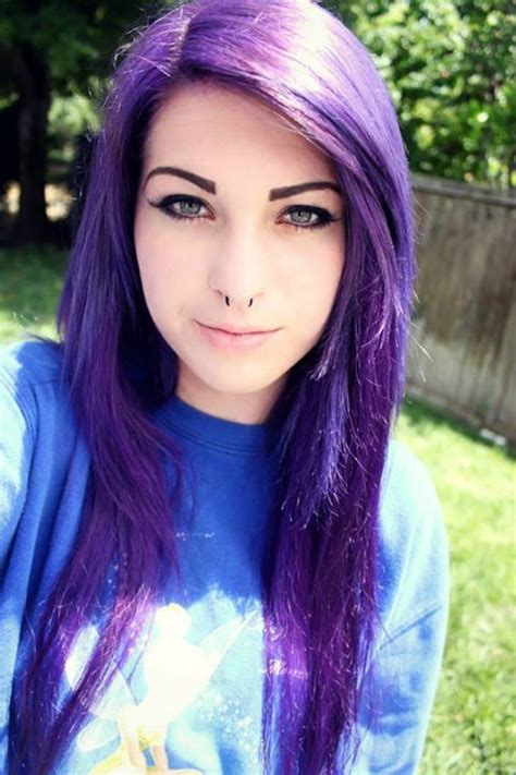 dyed hairstyles purple long straight purple hair hair pinterest scene hair