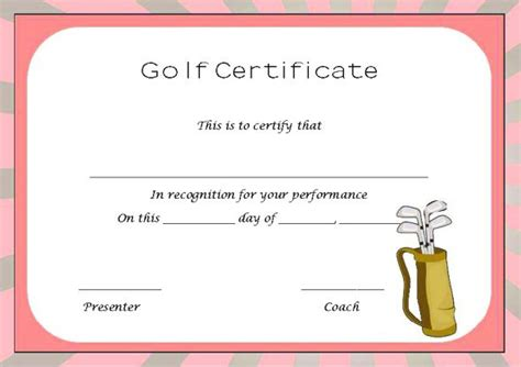 golf certificate templates golf certificate templates for word