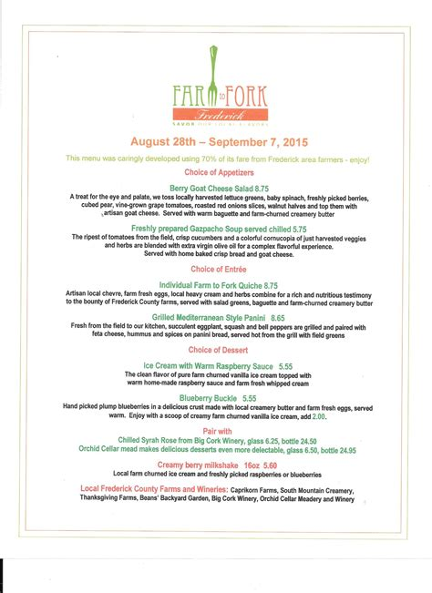 farm to menu farm to fork specialty menu is 70 locally sourced friday