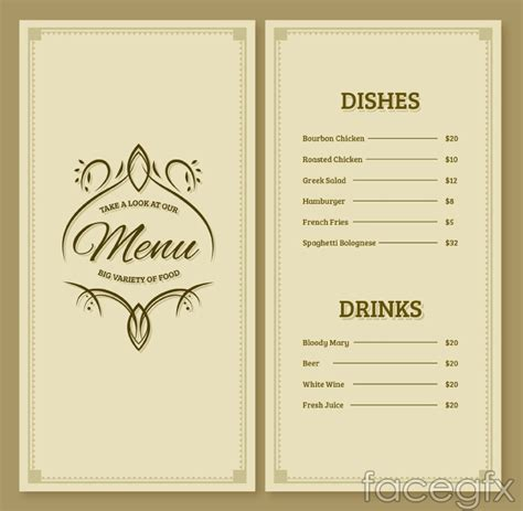 easy elegant dinner menus simple but elegant restaurant menu design vector graph