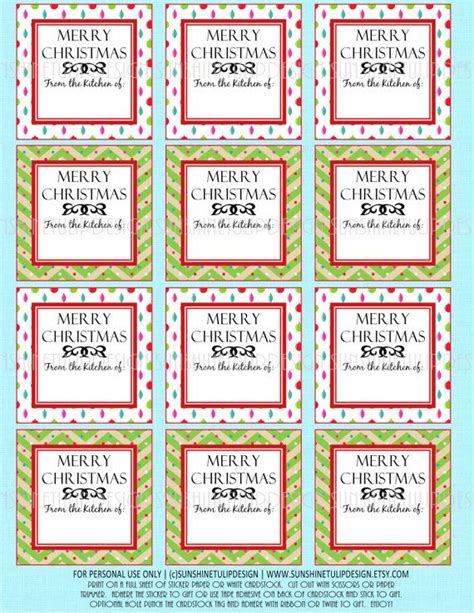 free printable gift tags for baked goods christmas baked goods labels printable diy by
